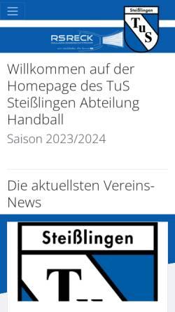 Vorschau der mobilen Webseite www.handball-steisslingen.de, TuS Steißlingen Abteilung Handball