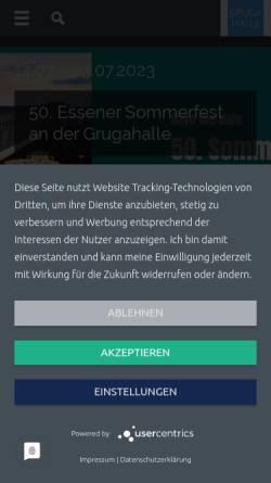 Vorschau der mobilen Webseite www.grugahalle.de, Grugahalle Messe Essen GmbH