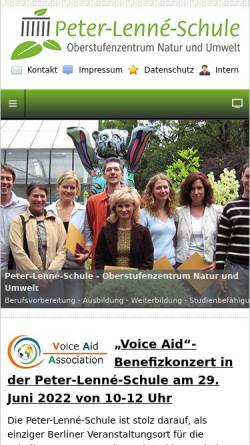 Vorschau der mobilen Webseite www.peter-lenne-schule.de, OSZ Agrarwirtschaft - Zehlendorf