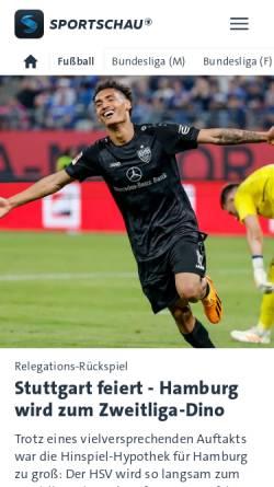 Vorschau der mobilen Webseite www.sportschau.de, ARD-Sportschau: Fußball
