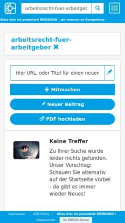 Vorschau der mobilen Webseite www.competence-site.de, Competence Center für Arbeitsrecht