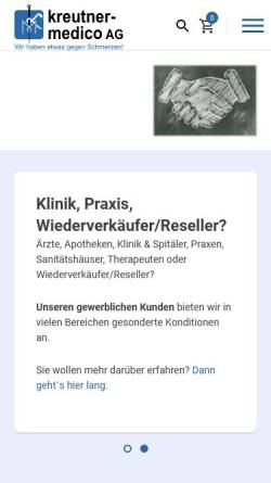 Vorschau der mobilen Webseite www.kreutner-medico.ch, Kreutner Medico AG