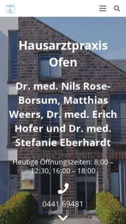 Vorschau der mobilen Webseite www.hausarztpraxis-ofen.de, Hofer, Dr. med. Erich und Rose-Borsum, Dr. med. Nils