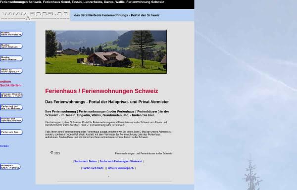 Vorschau von www.appa.ch, Appartements und Ferienhäuser