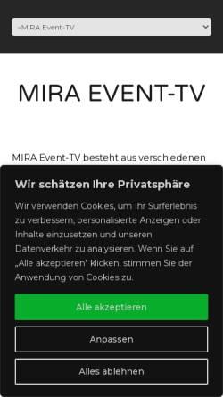 Vorschau der mobilen Webseite www.mira-event-tv.de, Mira TV GmbH