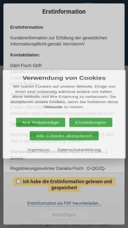 Vorschau der mobilen Webseite www.versicherungsmakler-fisch.de, D&H Fisch GbR