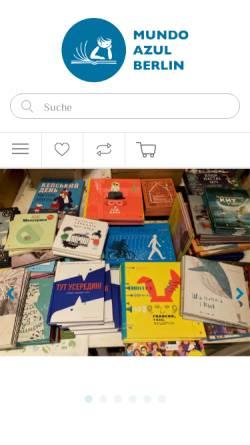Vorschau der mobilen Webseite mundoazul.de, Kinderbuchhandlung mundo azul - Internationale Bücher