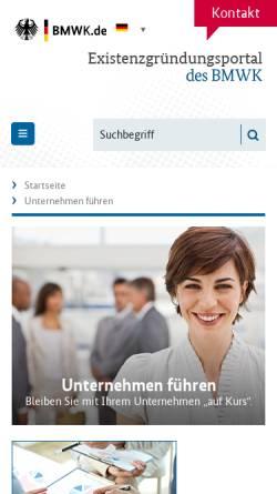 Vorschau der mobilen Webseite www.bmwi-unternehmensportal.de, Unternehmensportal - BMWi