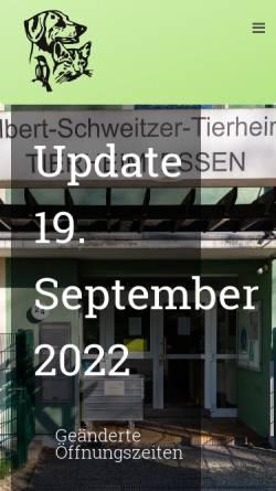 Vorschau der mobilen Webseite www.tierheim-essen.de, Tierschutzverein Groß-Essen e.V.