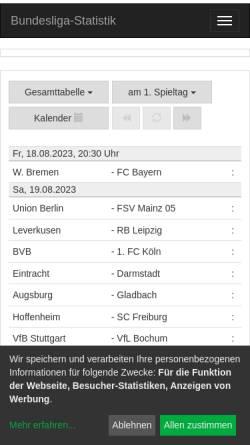 Vorschau der mobilen Webseite www.liga-statistik.de, Bundesliga-Statistik