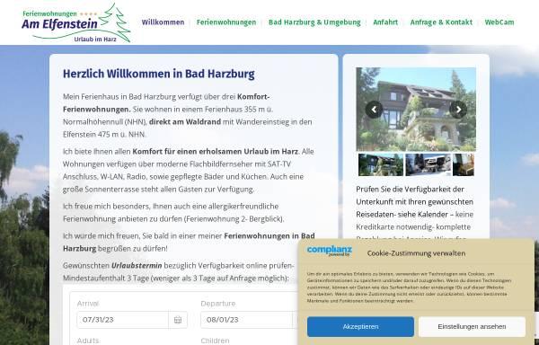 Vorschau von www.fewo-bad-harzburg.com, Ferienwohnungen am Elfenstein
