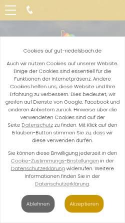 Vorschau der mobilen Webseite www.gut-riedelsbach.de, Gut Riedelsbach