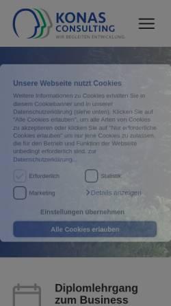 Vorschau der mobilen Webseite www.konas-consulting.com, Konas Consulting Akademie - Konas Consulting Unternehmensberatung GmbH
