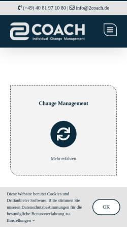 Vorschau der mobilen Webseite www.2coach.de, 2coach Personal- und Unternehmensberatung Henrichs und Schiemann