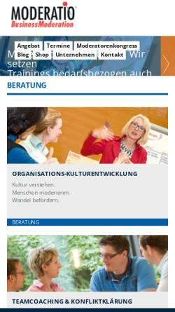 Vorschau der mobilen Webseite www.moderation.com, Moderatio - Seifert & Partner GmbH