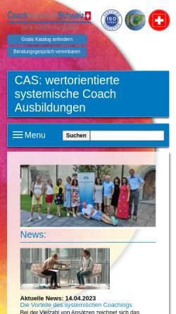 Vorschau der mobilen Webseite www.coachakademie.ch, Coachakademie Schweiz