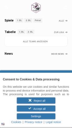 Vorschau der mobilen Webseite www.hbf-info.de, Handball-Bundesliga Frauen