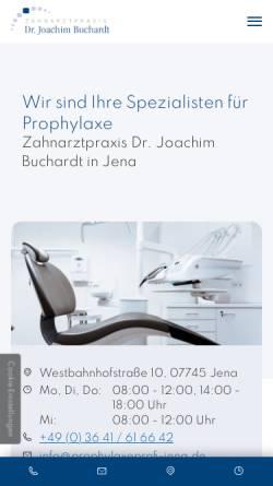 Vorschau der mobilen Webseite www.dr-buchardt.de, Zahnarzt Dr. med. dent. Joachim Buchardt