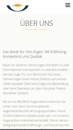 Vorschau der mobilen Webseite www.belenus-siegen.de, BELENUS Augenzentrum Siegen
