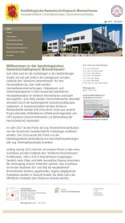 Vorschau der mobilen Webseite www.kardio-bremerhaven.de, Kardiologische Gemeinschaftspraxis Bremerhaven