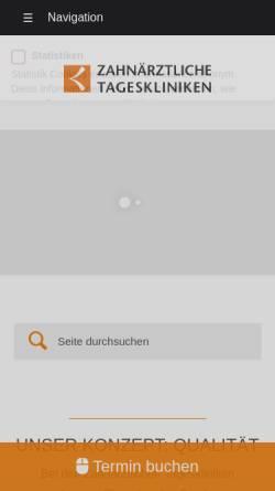 Vorschau der mobilen Webseite www.z-tagesklinik.de, Zahnärztliche Tageskliniken Dr. Eichenseer