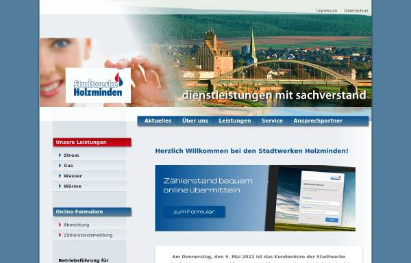 Vorschau von www.stadtwerke-holzminden.de, Stadtwerke Holzminden GmbH / Stadtwerke Holzminden -Kommunalwirtschaft- AöR