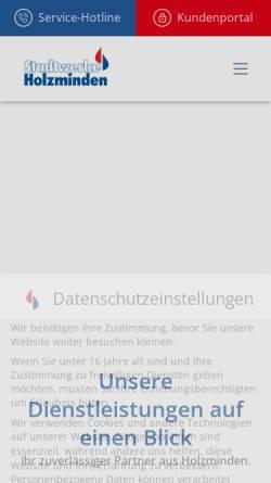 Vorschau der mobilen Webseite www.stadtwerke-holzminden.de, Stadtwerke Holzminden GmbH / Stadtwerke Holzminden -Kommunalwirtschaft- AöR