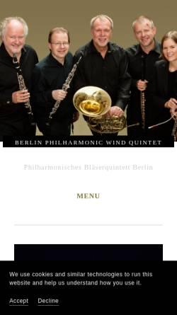 Vorschau der mobilen Webseite www.windquintet.com, Philharmonisches Bläserquintett Berlin