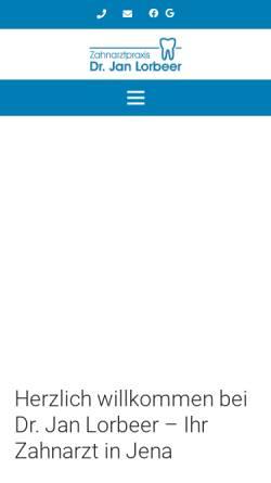 Vorschau der mobilen Webseite www.zahnarztpraxis-jena.de, Zahnarztpraxis Dr. Jan Lorbeer