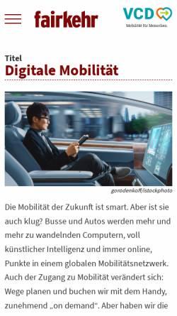 Vorschau der mobilen Webseite www.fairkehr-magazin.de, fairkehr