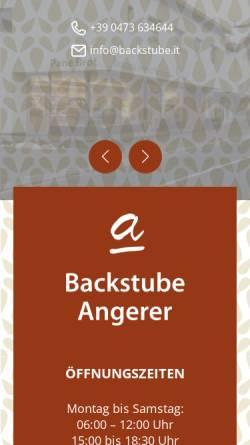 Vorschau der mobilen Webseite www.backstube.it, Backstube Angerer