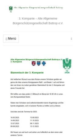 Vorschau der mobilen Webseite www.die-dritte-kompanie.de, Alte Allgemeine Bürgerschützengesellschaft Bottrop e.V. (3. Kompanie)