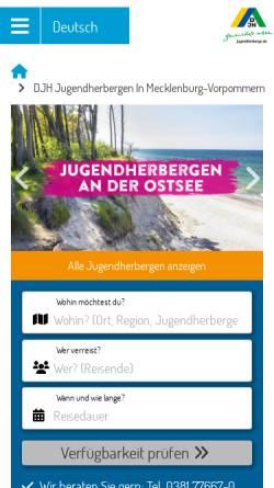 Vorschau der mobilen Webseite www.jugendherbergen-mv.de, Deutsches Jugendherbergswerk Landesverband Mecklenburg-Vorpommern