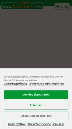 Vorschau der mobilen Webseite www.ferien-mv.info, Ferienhausvermietung Mecklenburg-Vorpommern, Inhaber Holger Richter