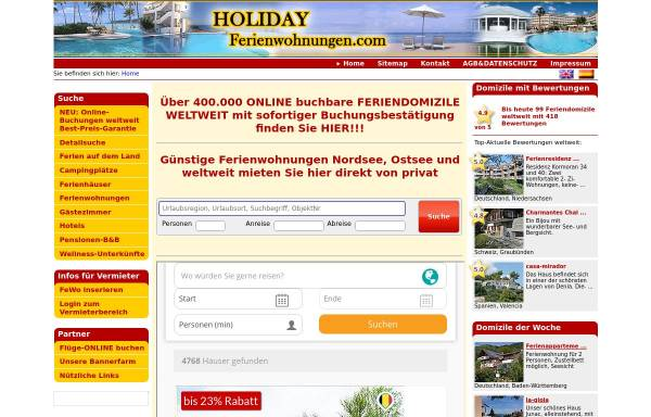 Vorschau von www.holiday-ferienwohnungen.com, Holiday-Ferienwohnungen.com