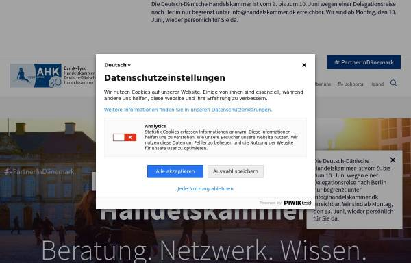 Vorschau von www.handelskammer.dk, Deutsch-Dänische Handelskammer