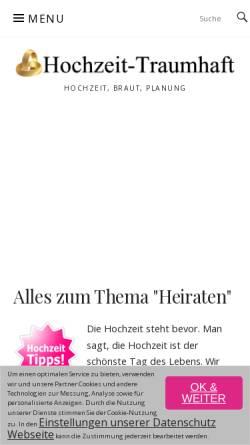 Vorschau der mobilen Webseite www.hochzeit-traumhaft.de, Hochzeit-Traumhaft.de