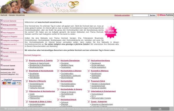 Vorschau von www.hochzeit-verzeichnis.de, Hochzeit-Verzeichnis.de