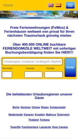 Vorschau der mobilen Webseite www.feriendomizile-online.com, Ferien Domizile Online