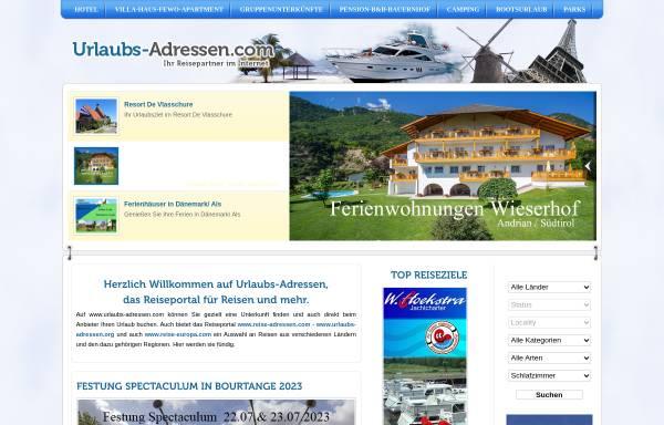 Vorschau von www.urlaubs-adressen.com, Urlaubs-Adressen.com