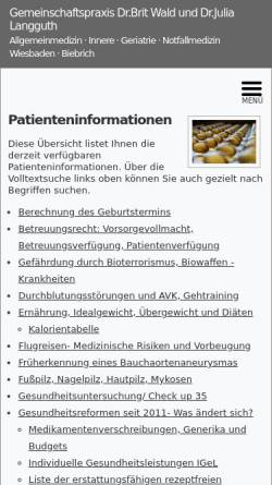 Vorschau der mobilen Webseite www.praxis-wiesbaden.de, Gesundheitsinformationen