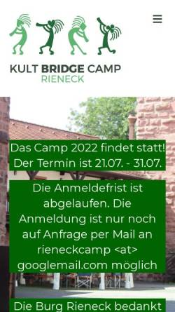 Vorschau der mobilen Webseite www.kultcamp-rieneck.de, Kult-Bridge-Camp Rieneck