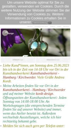 Vorschau der mobilen Webseite www.kordt-schmuckdesign.de, Andrea Kordt Schmuckdesign