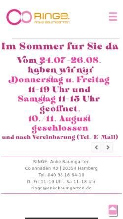 Vorschau der mobilen Webseite www.ringe-ankebaumgarten.de, Ringe, Anke Baumgarten