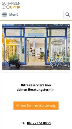 Vorschau der mobilen Webseite www.schanzenoptik.de, Schanzenoptik GbR