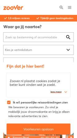 Vorschau der mobilen Webseite www.zoover.de, Zoover