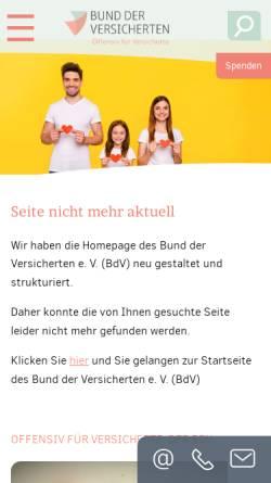 Vorschau der mobilen Webseite www.bundderversicherten.de, Bund der Versicherten e. V. zur Altersvorsorge