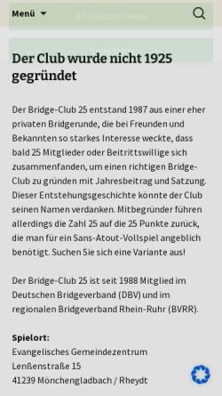 Vorschau der mobilen Webseite www.bc25.de, Bridge-Club 25