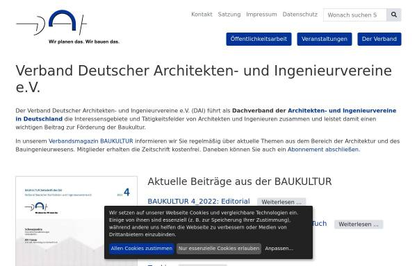 Vorschau von www.dai.org, Verband Deutscher Architekten und Ingenieurvereine e.V.