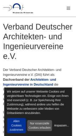 Vorschau der mobilen Webseite www.dai.org, Verband Deutscher Architekten und Ingenieurvereine e.V.
